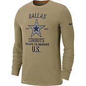 Nike Men's Salute to Service Dallas Cowboys Dri-FIT Beige Long Sleeve Shirt