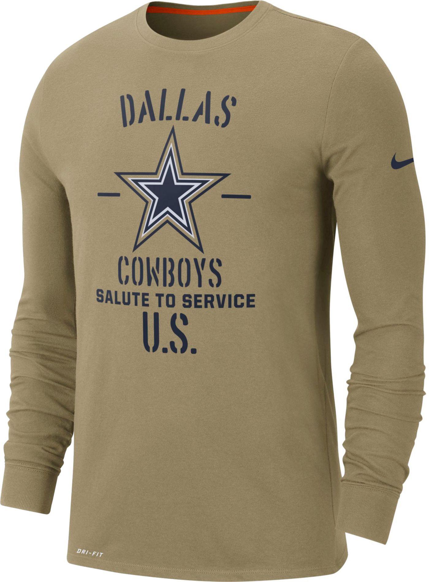 Nike Men's Salute to Service Dallas Cowboys Dri-FIT Beige Long Sleeve Shirt