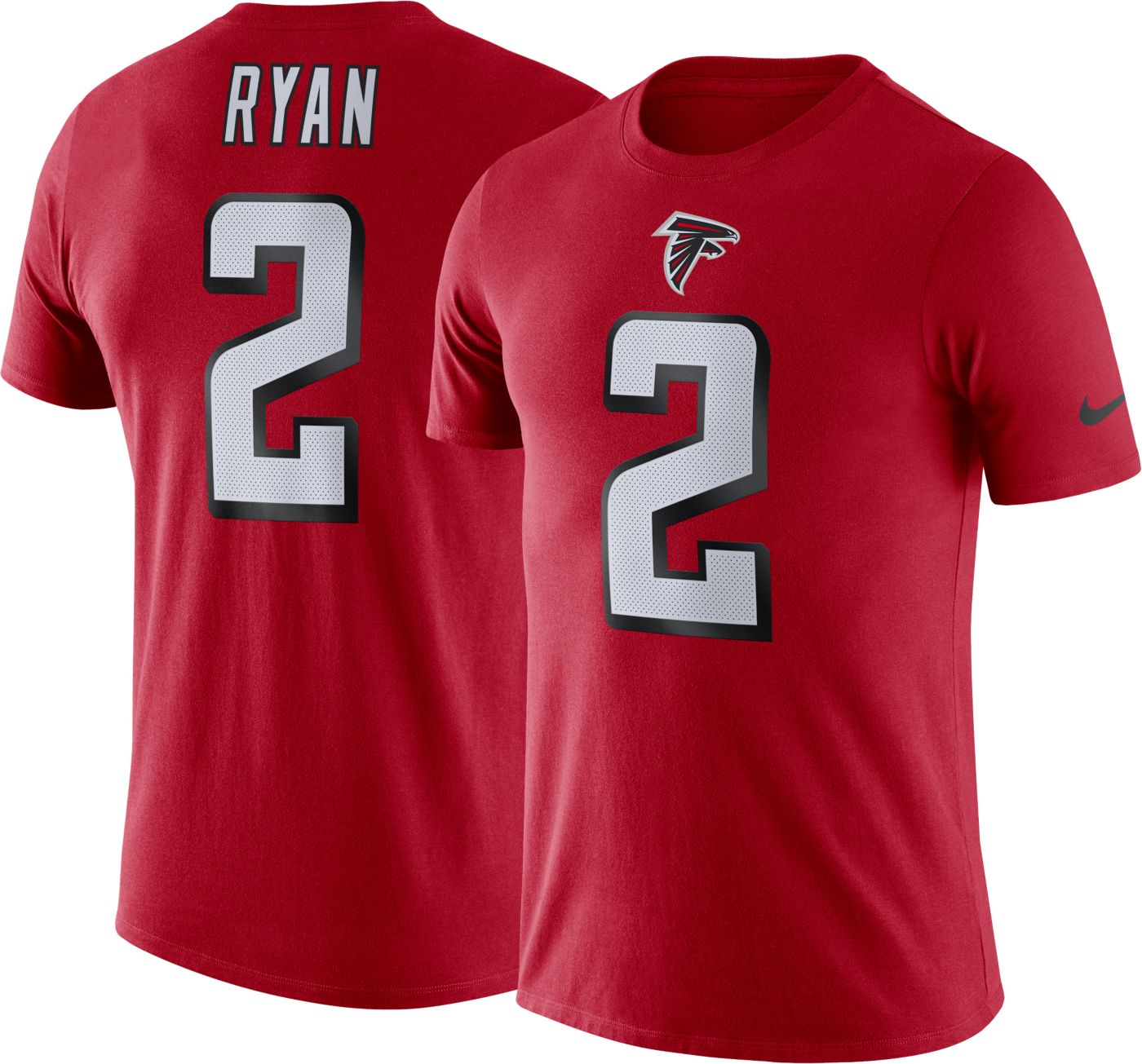 Nike Men's Atlanta Falcons Matt Ryan #2 Logo Red T-Shirt