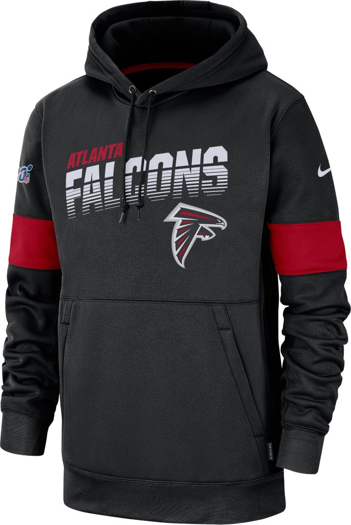 the best attitude 0f38b 9f746 Nike Men's Atlanta Falcons 100th Sideline Therma-FIT Black Pullover Hoodie