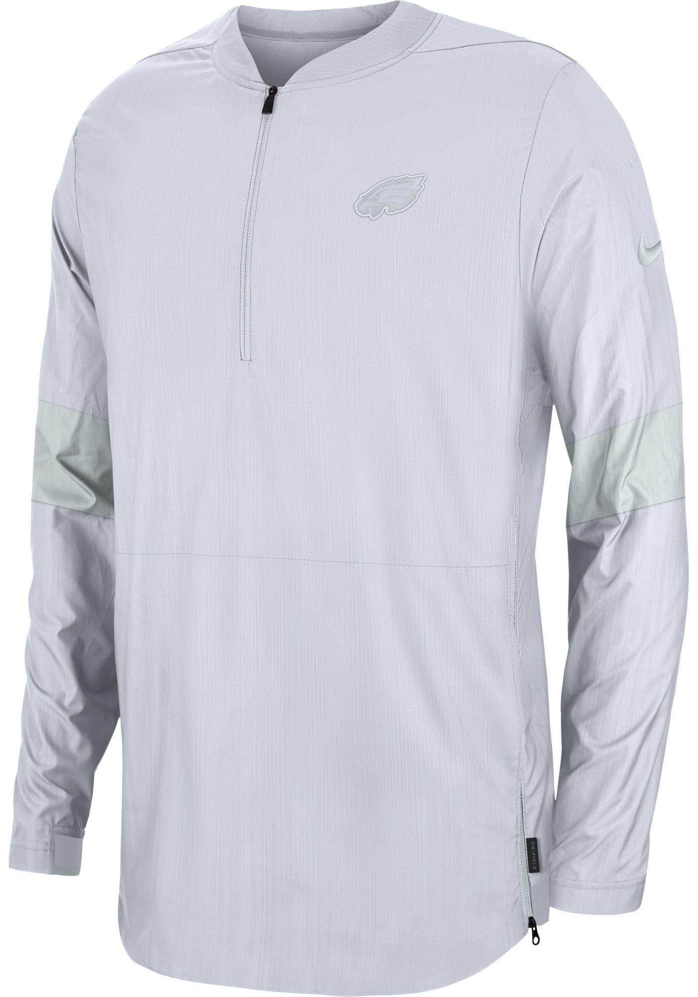 Nike Men's Philadelphia Eagles Sideline Coach White Half-Zip Performance Jacket