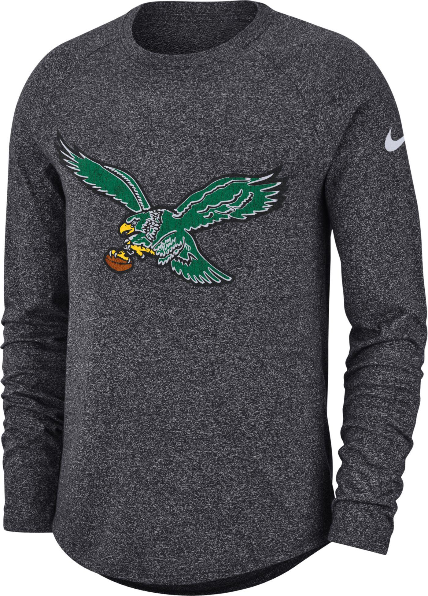 Nike Men's Philadelphia Eagles Marled Historic Performance Anthracite Long Sleeve Shirt