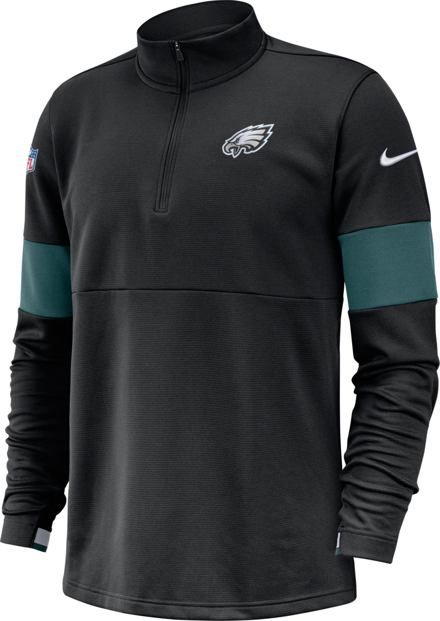 Nike Men's Philadelphia Eagles Sideline Coach Performance Black Half-Zip Pullover