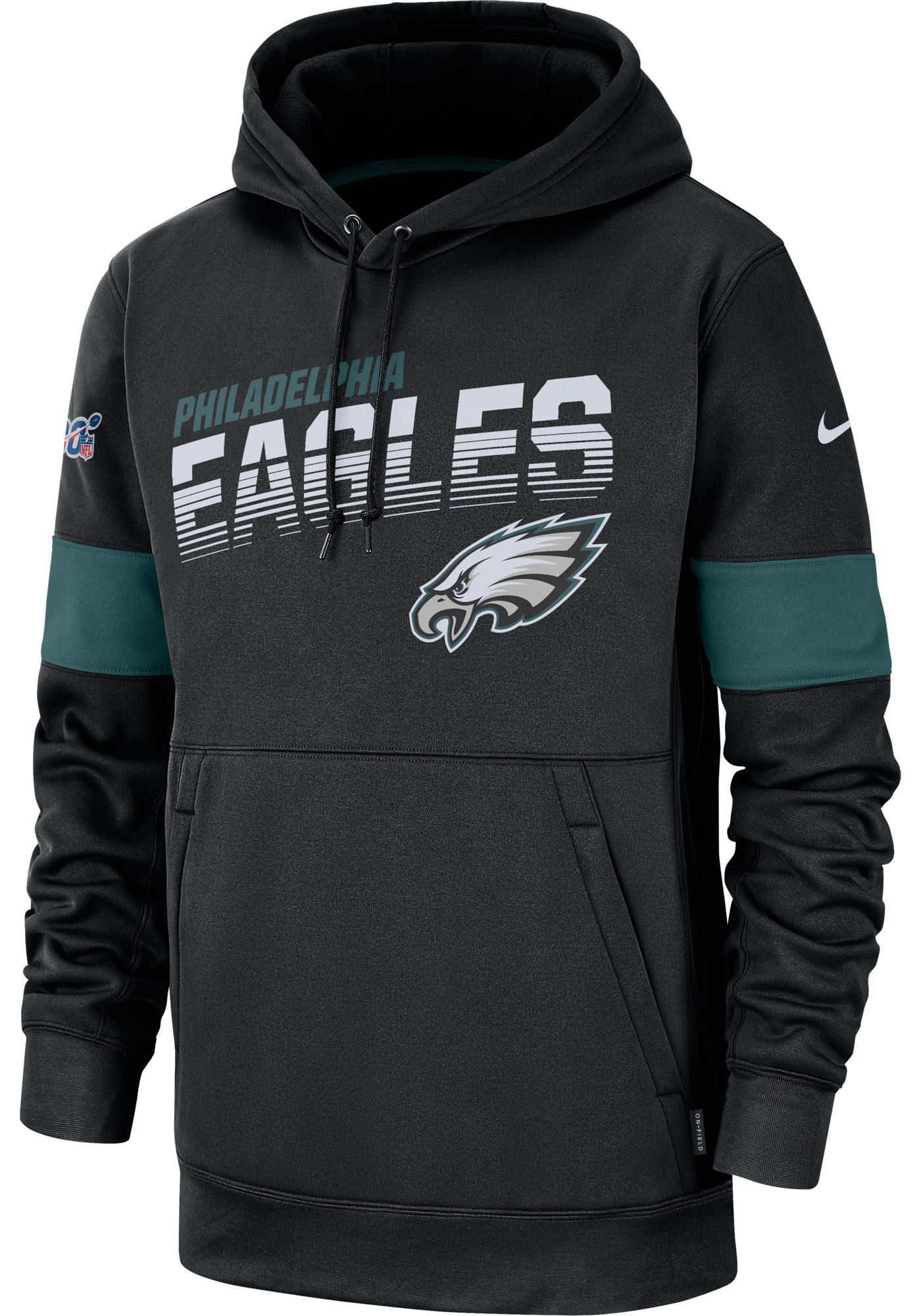 Nike Men's Philadelphia Eagles 100th Sideline Therma-FIT Black Pullover Hoodie