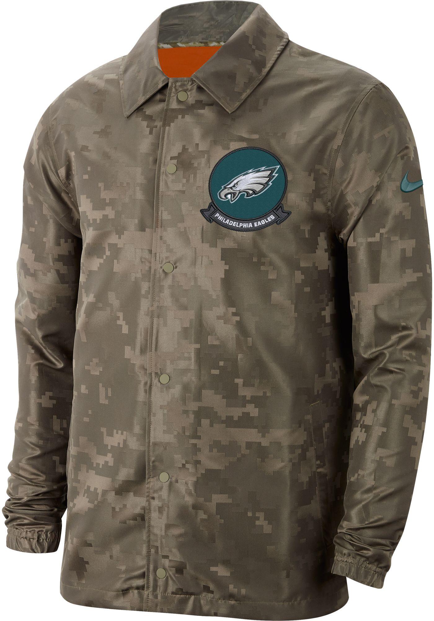 Nike Men's Salute to Service Philadelphia Eagles Olive Lightweight Camo Jacket