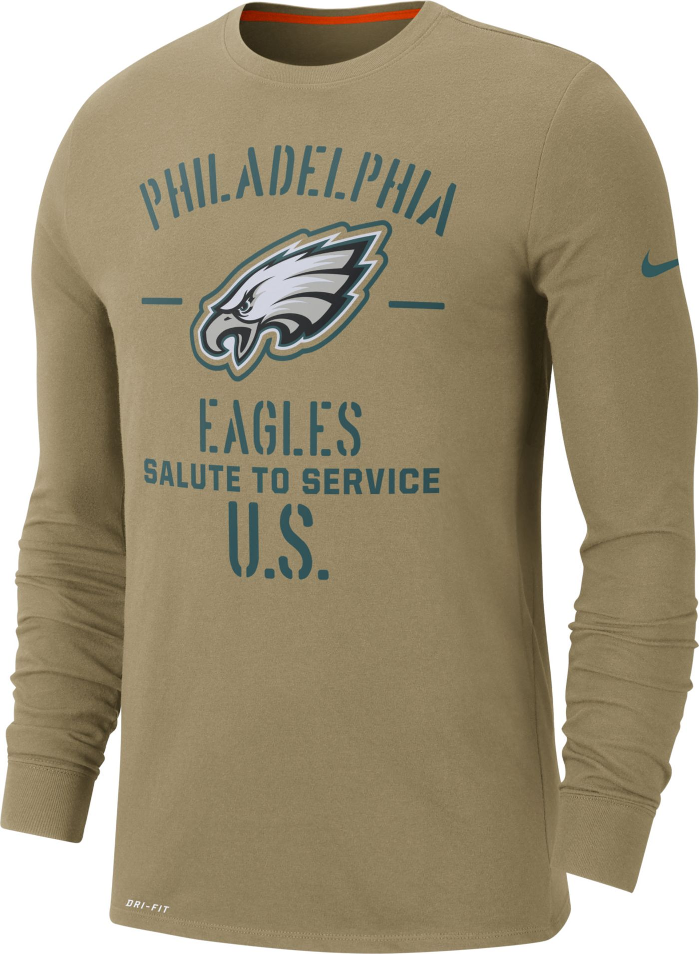 Nike Men's Salute to Service Philadelphia Eagles Dri-FIT Beige Long Sleeve Shirt
