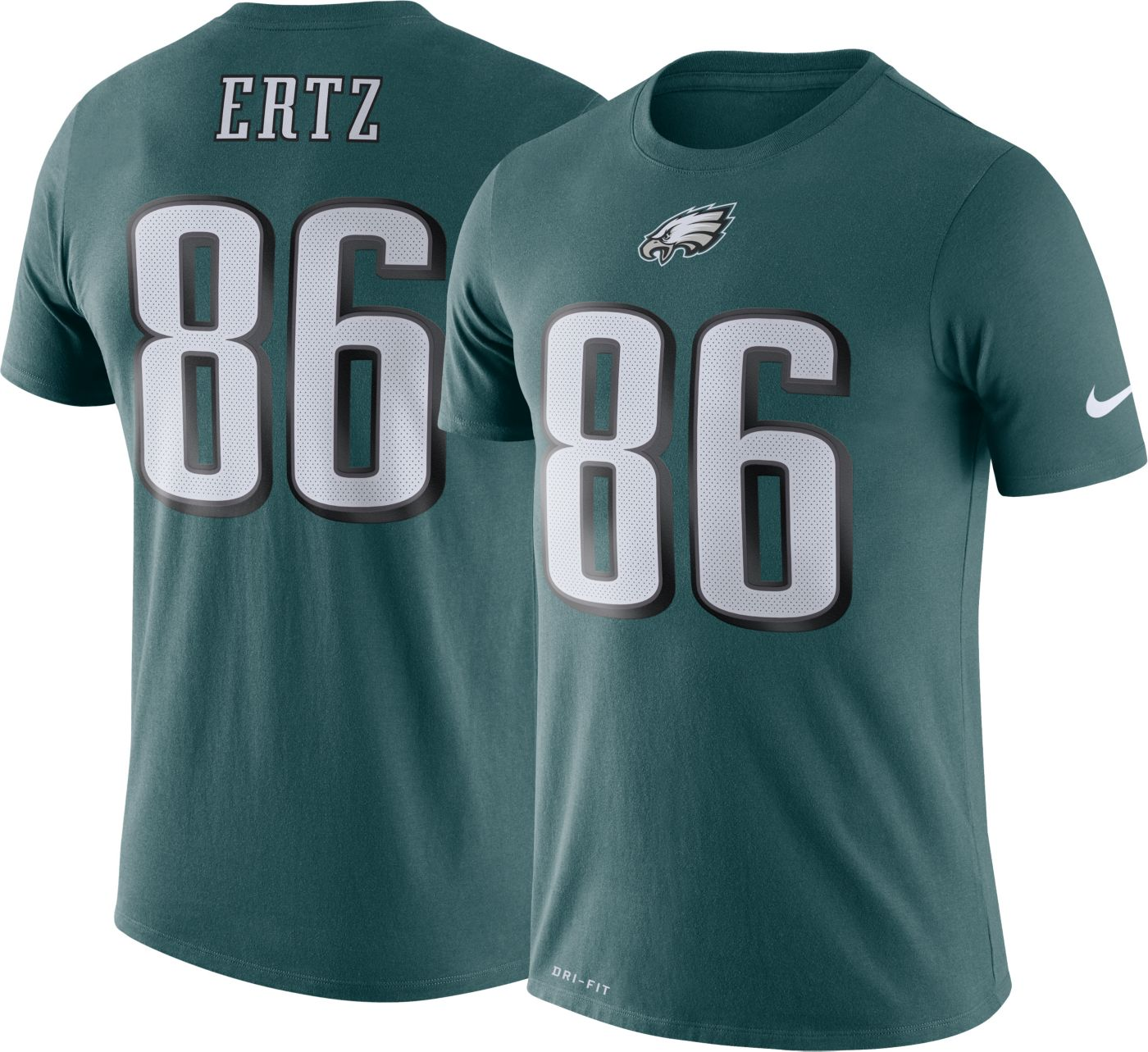 Nike Men's Philadelphia Eagles Zach Ertz #86 Logo Green T-Shirt