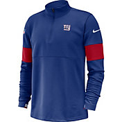 Nike Men's New York Giants Sideline Coach Performance Blue Half-Zip Pullover