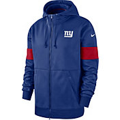 Nike Men's New York Giants Sideline Therma-FIT Blue Full-Zip Hoodie