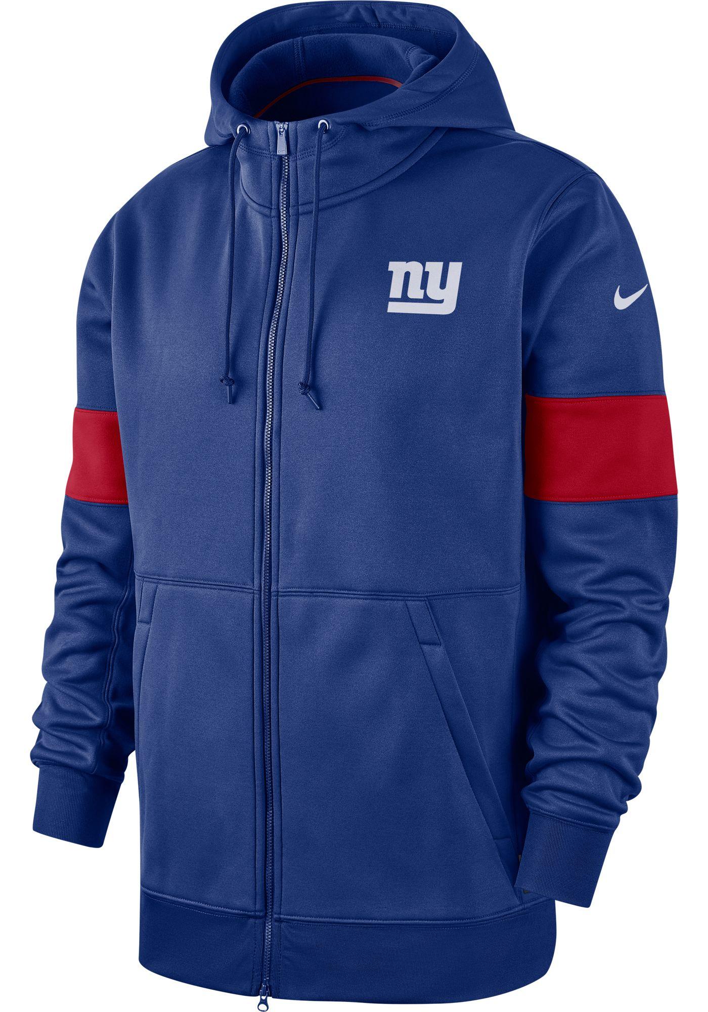 Nike Men's New York Giants Sideline Therma-FIT Blue Full-Zip Hoodie