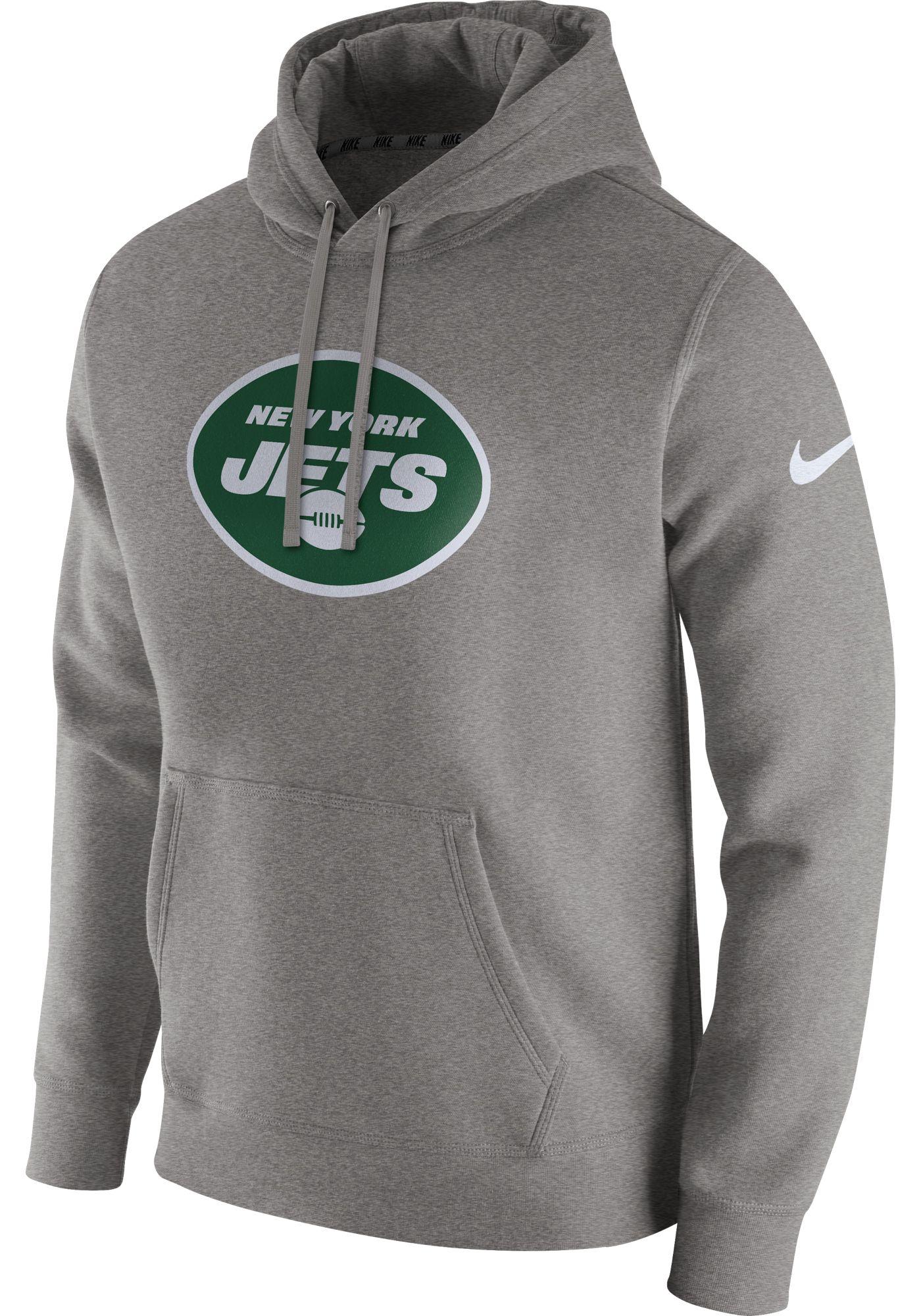 Nike Men's New York Jets Logo Club Grey Hoodie