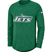 Nike Men's New York Jets Marled Historic Performance Green Long Sleeve Shirt