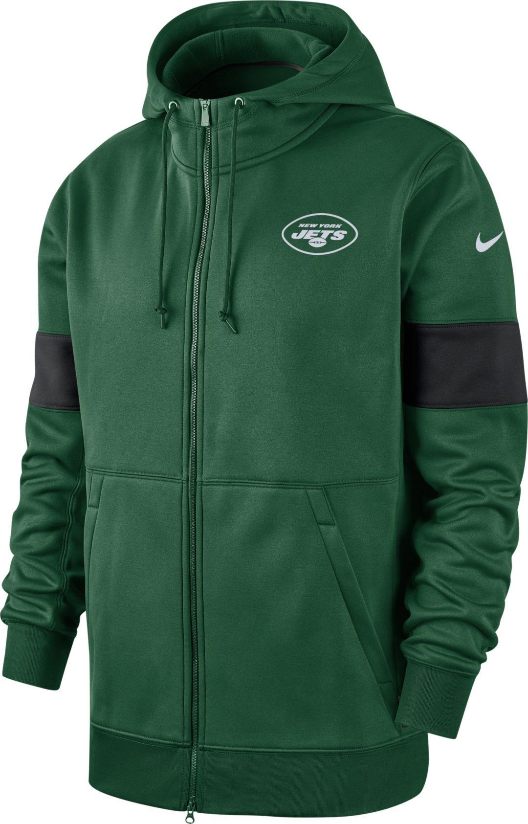 big sale 8c73d 576c7 Nike Men's New York Jets Sideline Therma-FIT Green Full-Zip Hoodie