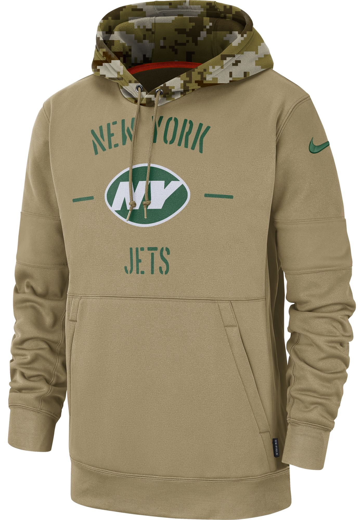 Nike Men's Salute to Service New York Jets Therma-FIT Beige Camo Hoodie