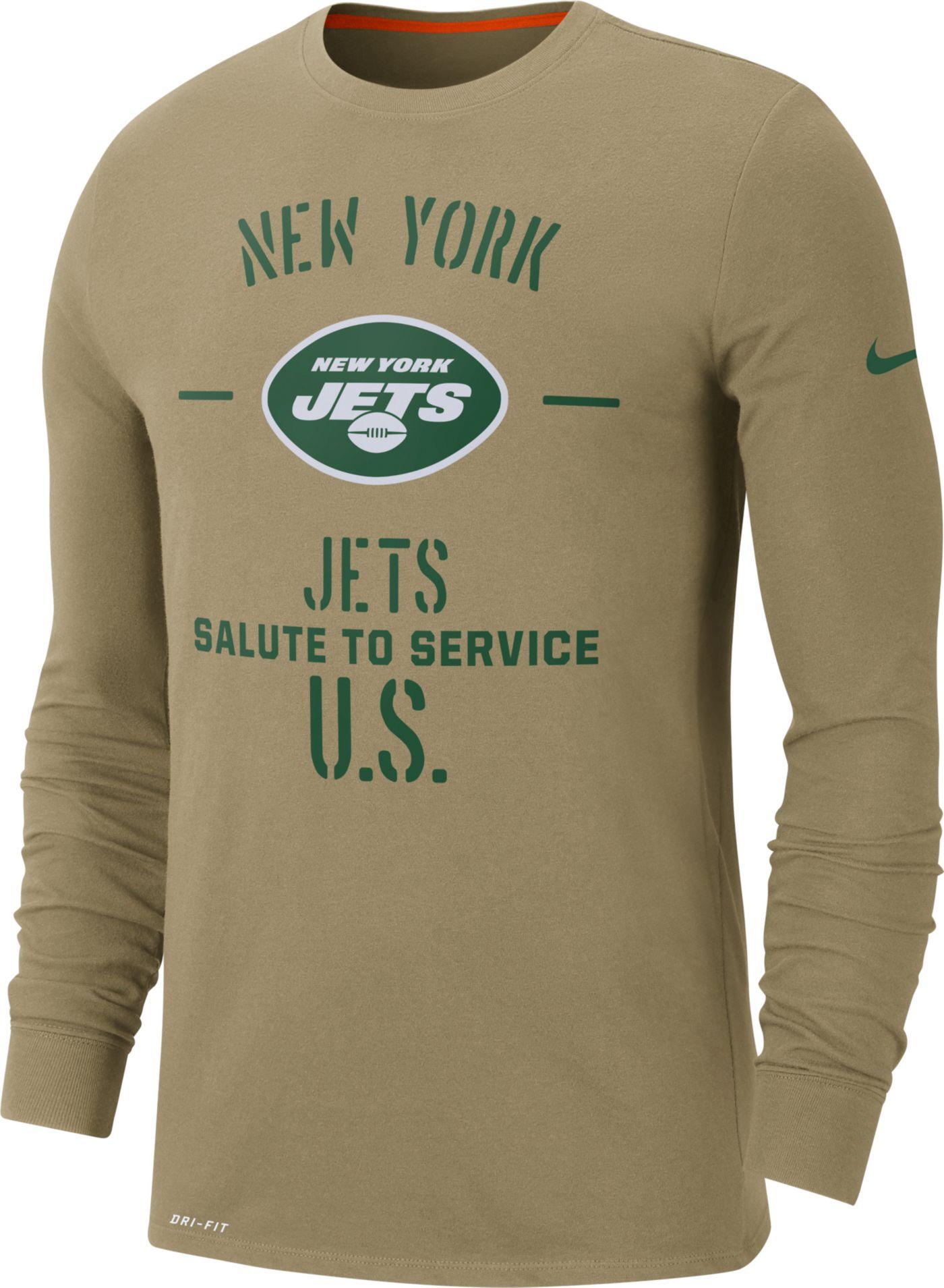 Nike Men's Salute to Service New York Jets Dri-FIT Beige Long Sleeve Shirt