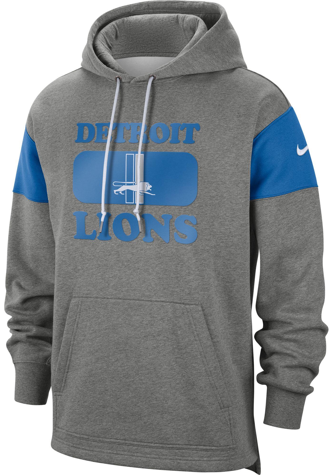 Nike Men's Detroit Lions Historic Pullover Grey Hoodie