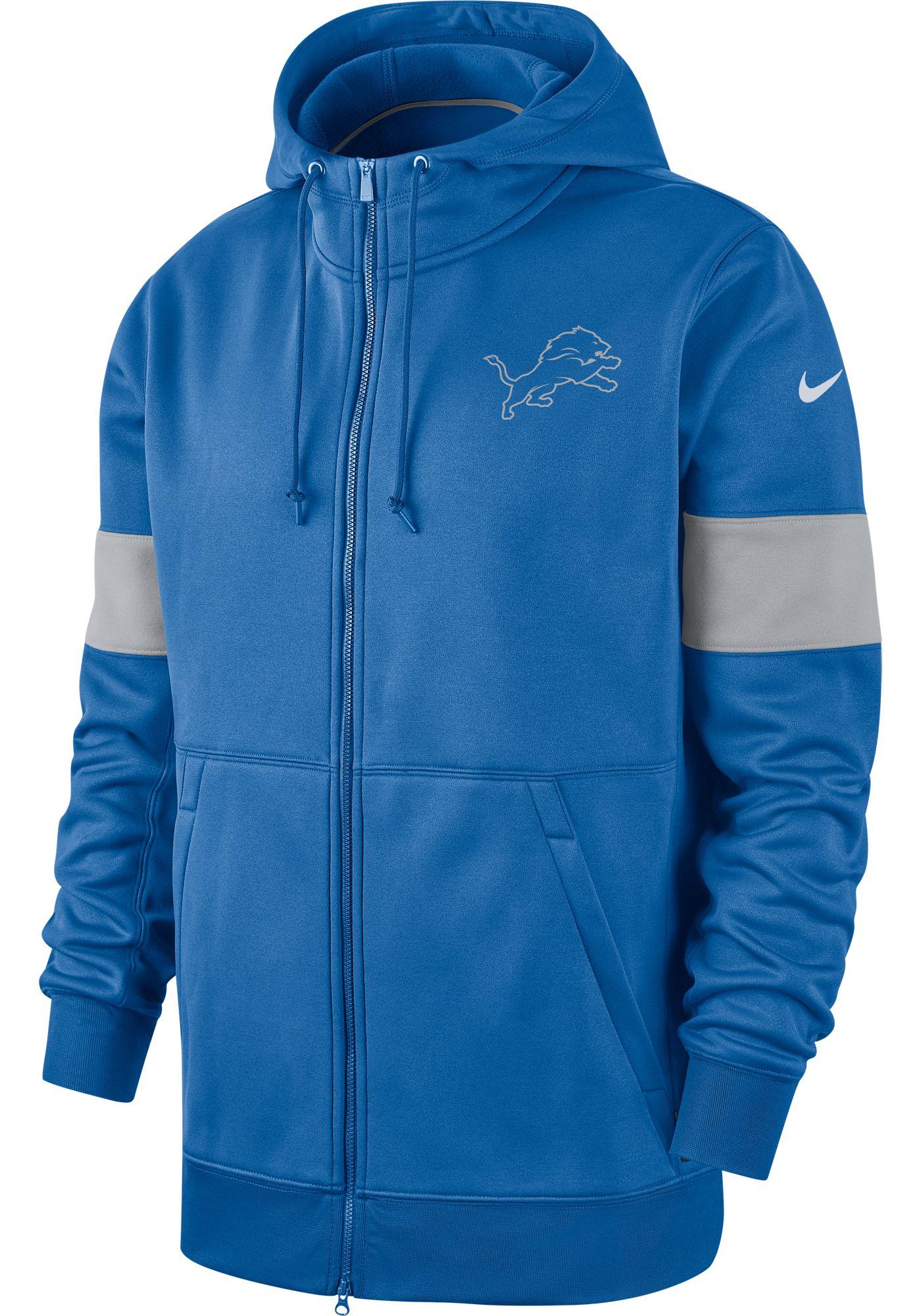 Nike Men's Detroit Lions Sideline Therma-FIT Blue Full-Zip Hoodie