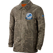 Nike Men's Salute to Service Detroit Lions Olive Lightweight Camo Jacket