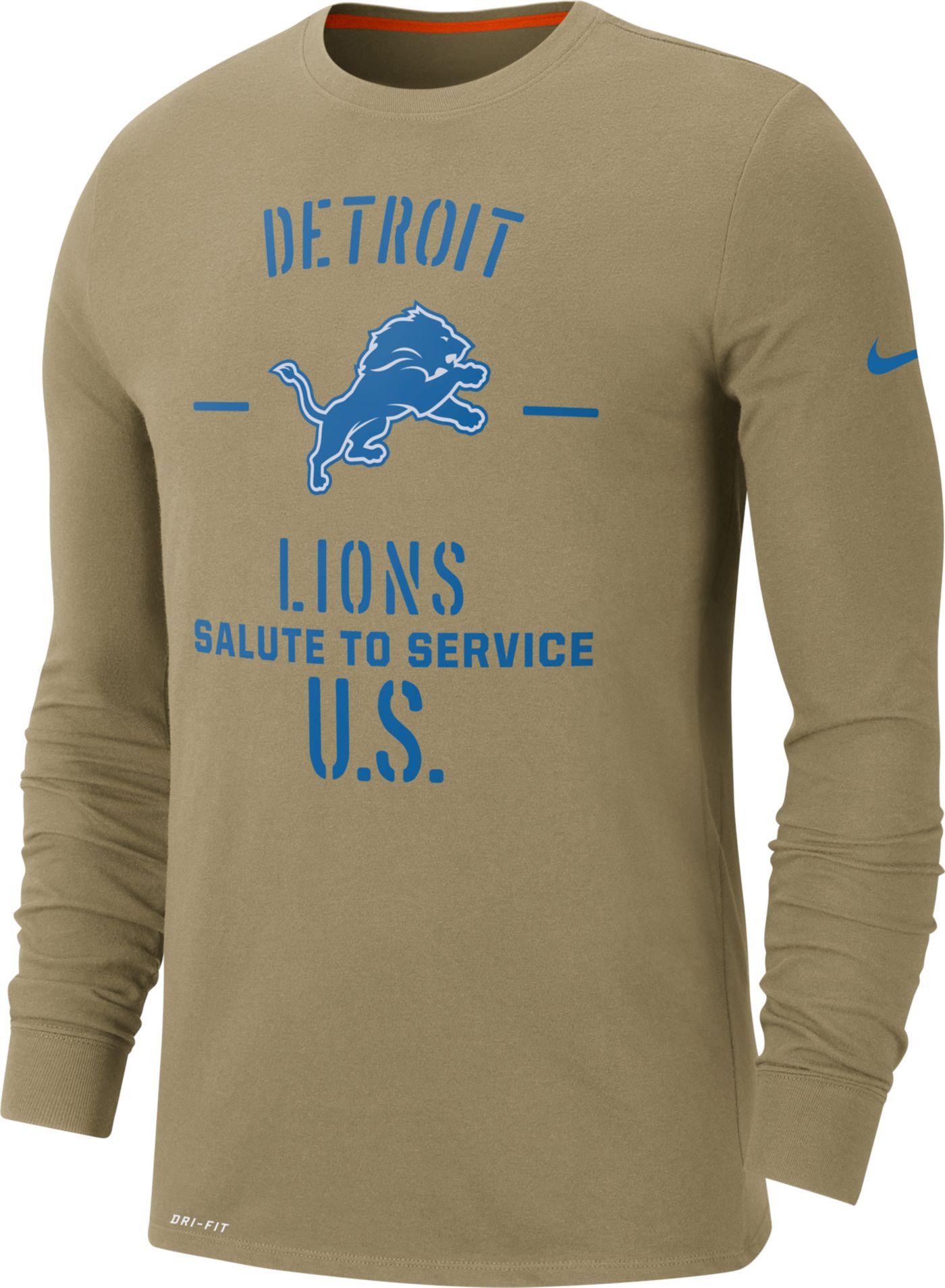 Nike Men's Salute to Service Detroit Lions Dri-FIT Beige Long Sleeve Shirt