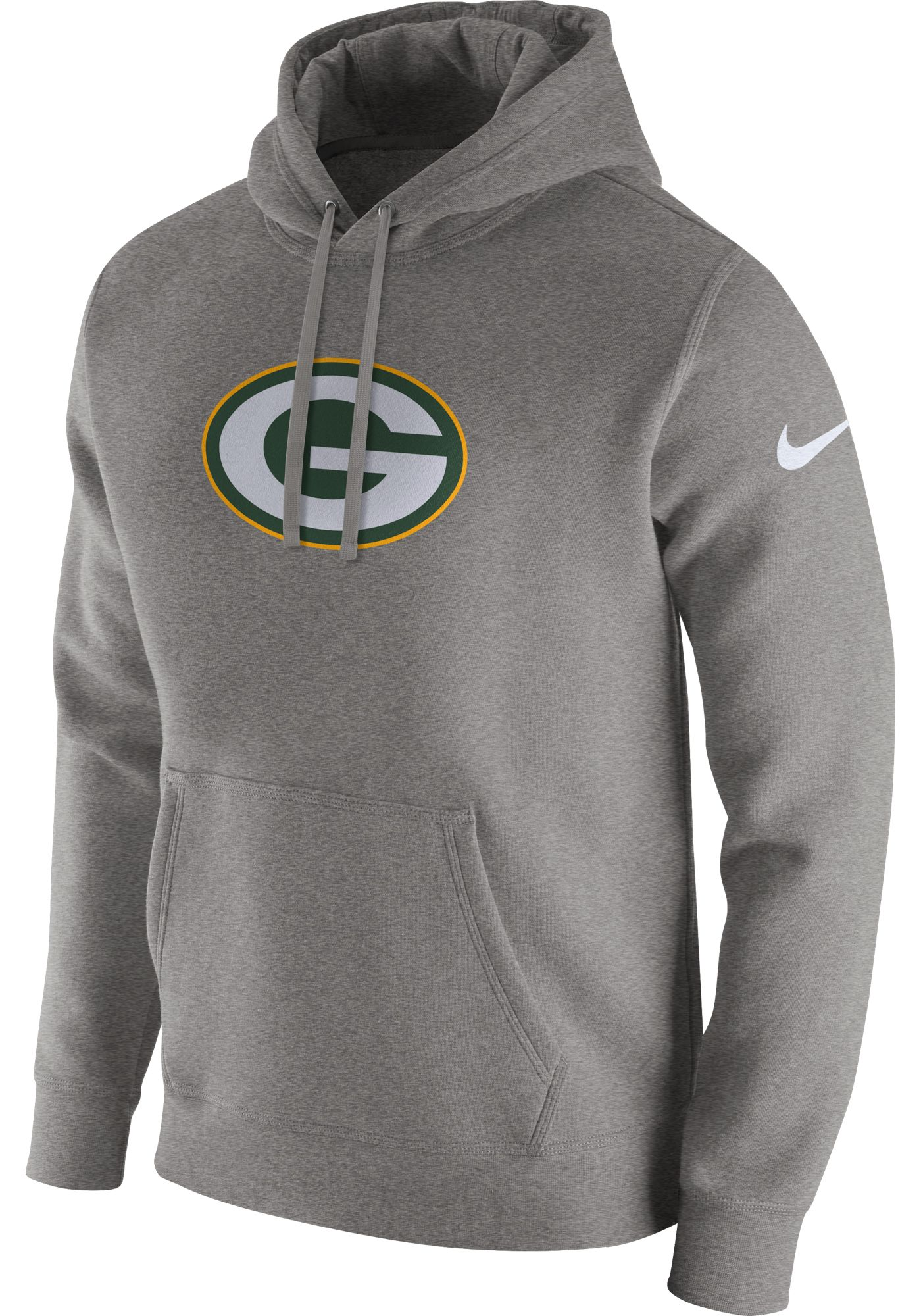 Nike Men's Green Bay Packers Logo Club Grey Hoodie