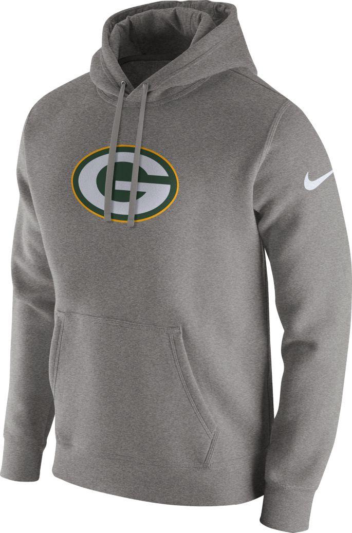 best sneakers d253f 34a41 Nike Men's Green Bay Packers Logo Club Grey Hoodie