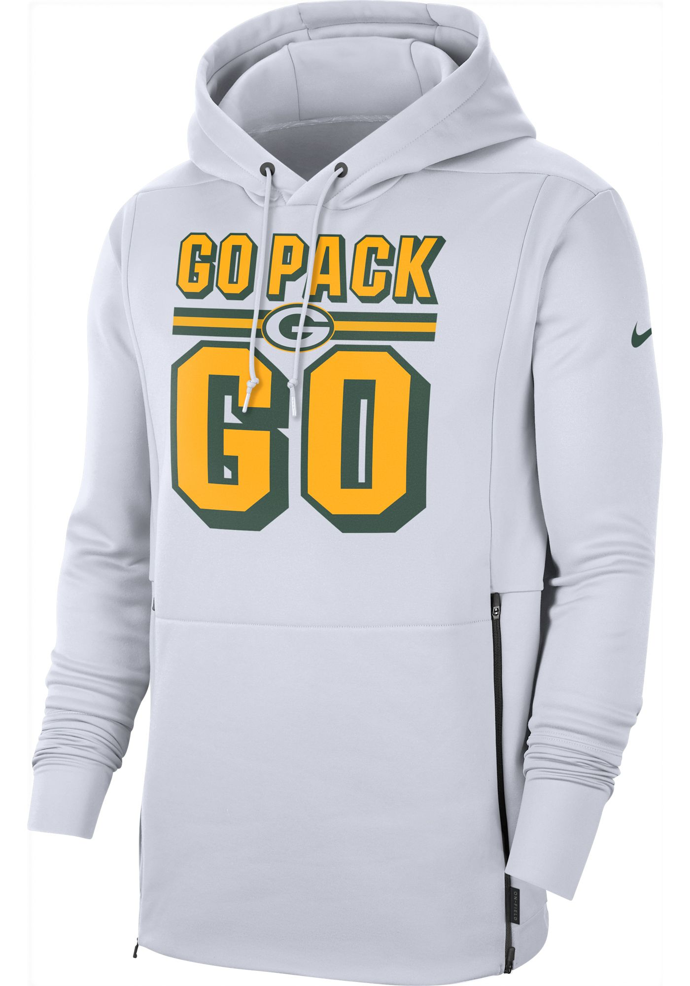 Nike Men's Green Bay Packers Sideline Therma-FIT Local White Performance Hoodie