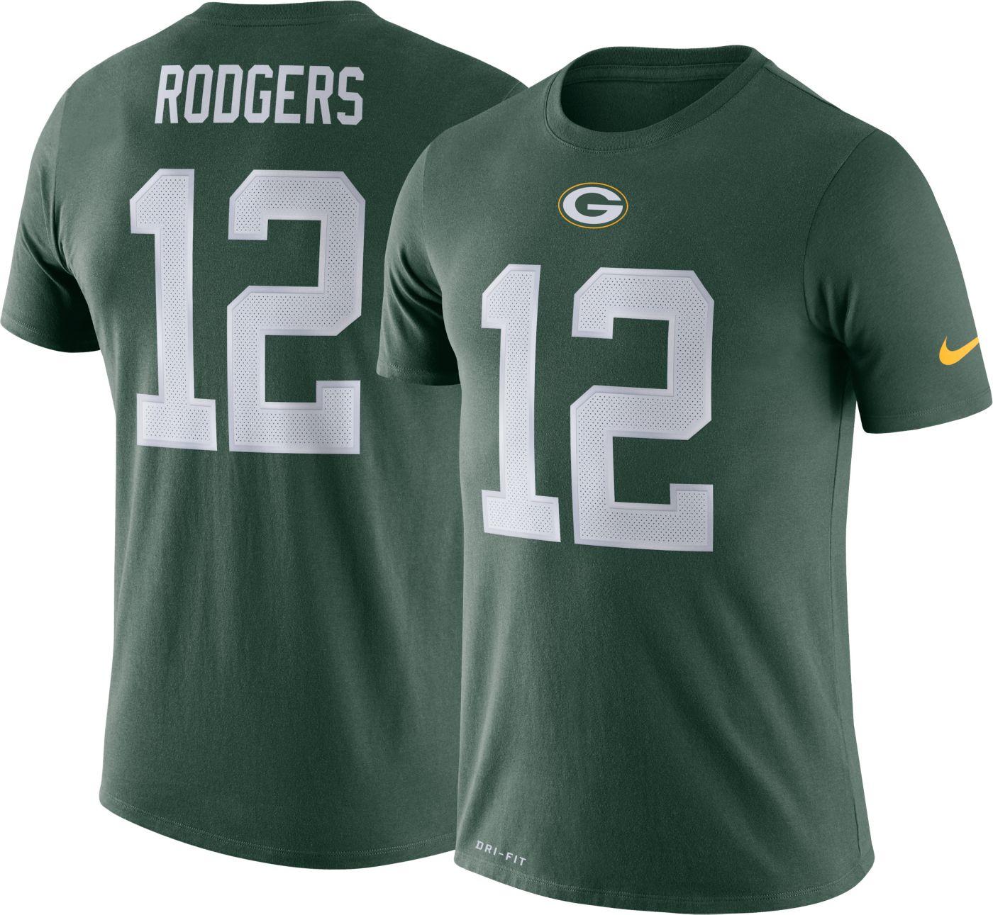 Nike Men's Green Bay Packers Aaron Rodgers #12 Logo Green T-Shirt