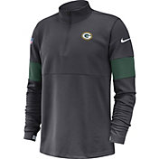 Nike Men's Green Bay Packers Sideline Coach Performance Anthracite Half-Zip Pullover