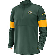 Nike Men's Green Bay Packers Sideline Coach Performance Green Half-Zip Pullover