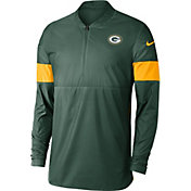 Nike Men's Green Bay Packers Sideline Coach Green Half-Zip Performance Jacket