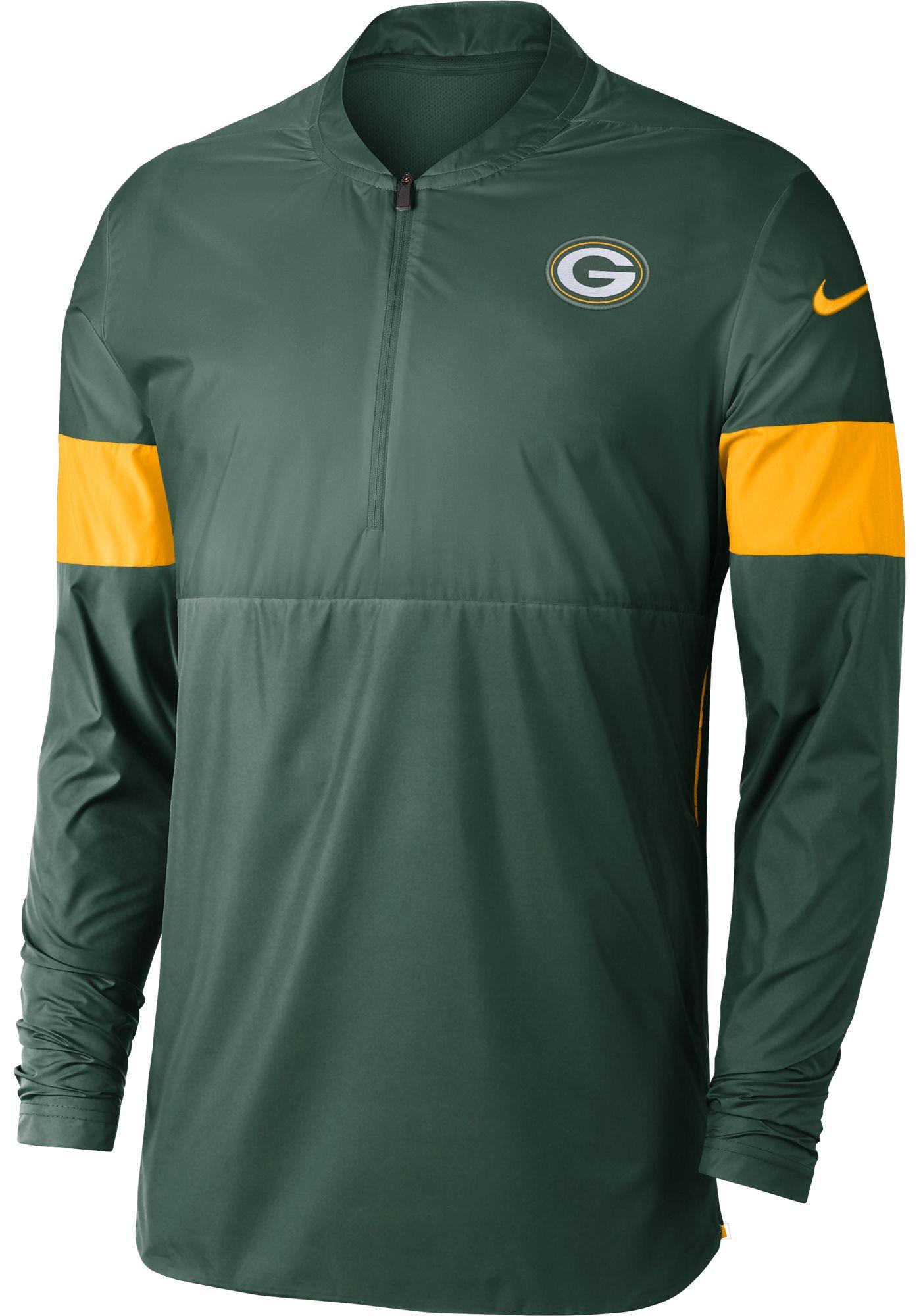 Nike Men's Green Bay Packers Sideline Coach Green Half-Zip Performance Jacket