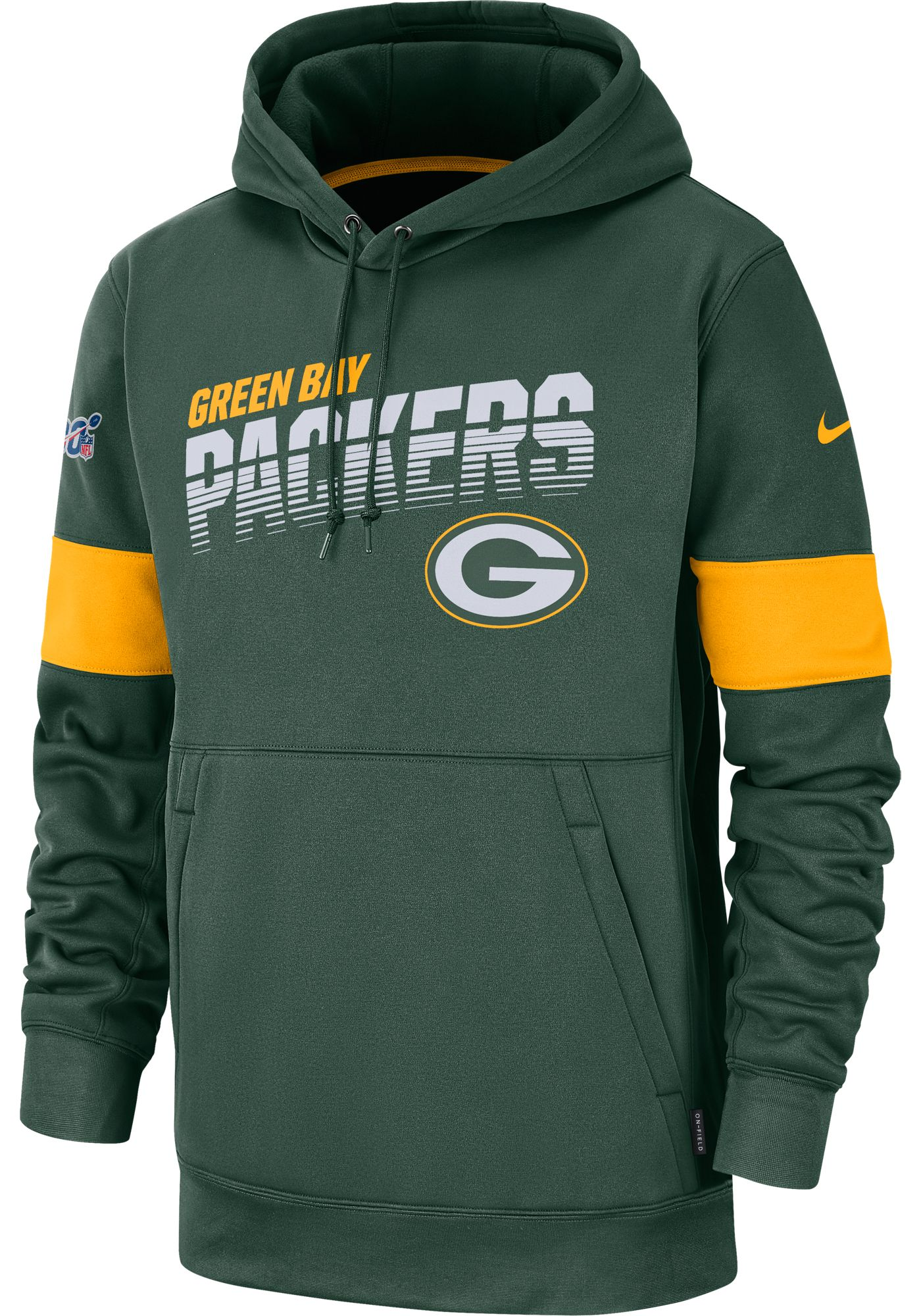 Nike Men's Green Bay Packers 100th Sideline Therma-FIT Green Pullover Hoodie
