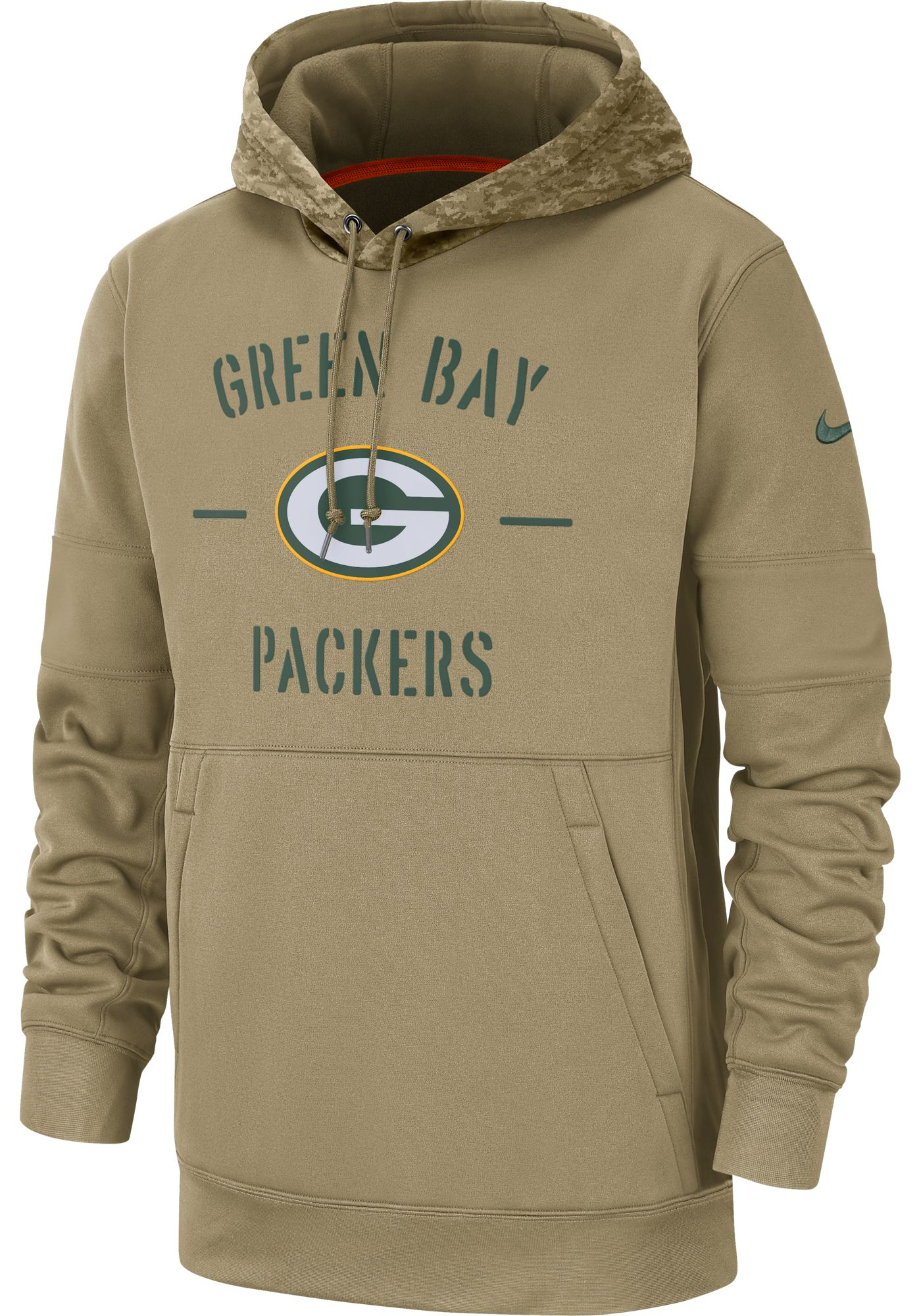 Nike Men's Salute to Service Green Bay Packers Therma-FIT Beige Camo Hoodie