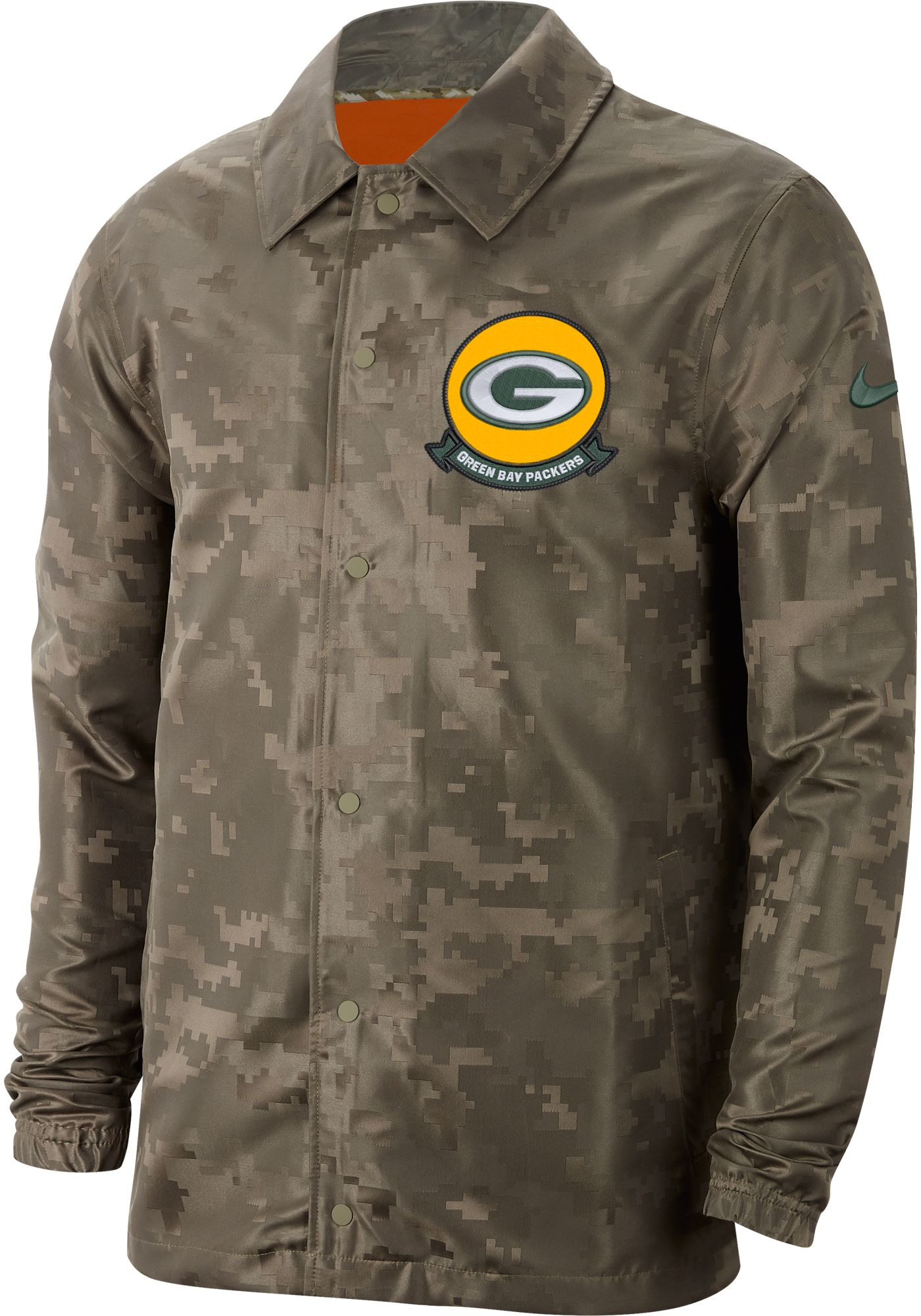 Nike Men's Salute to Service Green Bay Packers Olive Lightweight Camo Jacket
