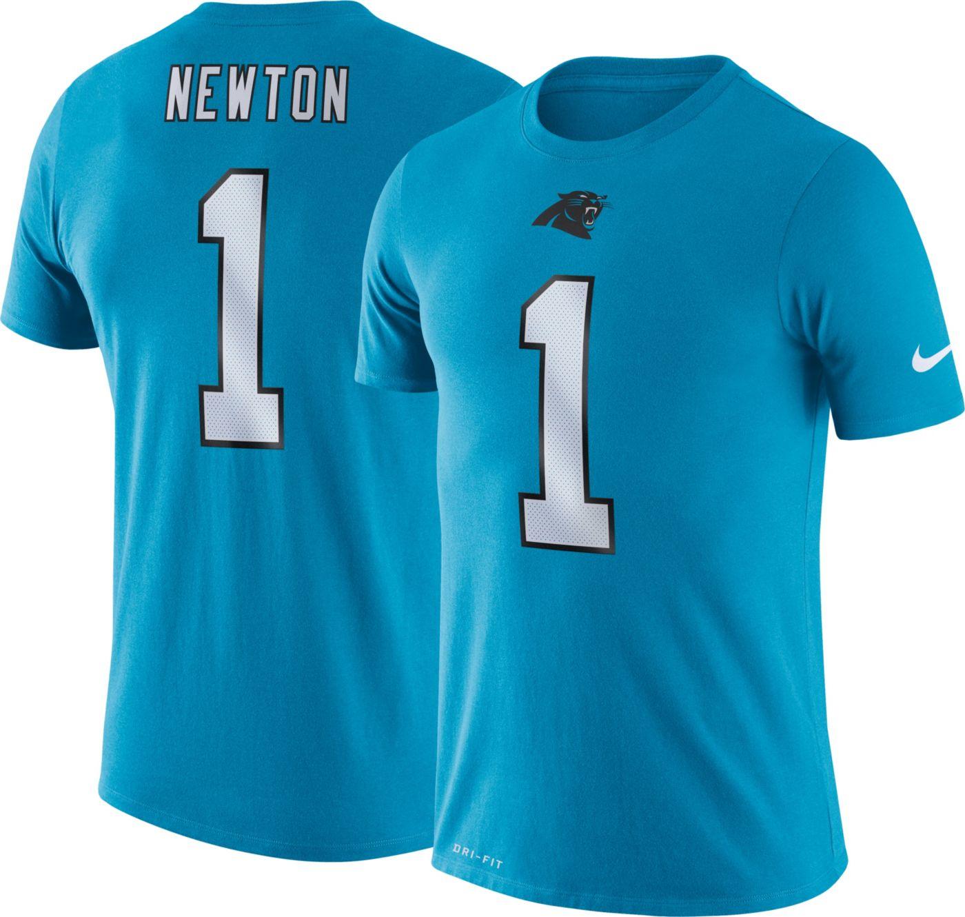Nike Men's Carolina Panthers Cam Newton #1 Logo Blue T-Shirt