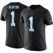 Nike Men's Carolina Panthers Cam Newton #1 Logo Black T-Shirt