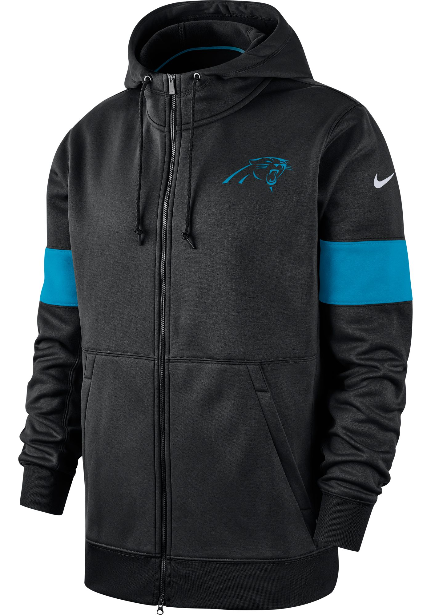 Nike Men's Carolina Panthers Sideline Therma-FIT Black Full-Zip Hoodie