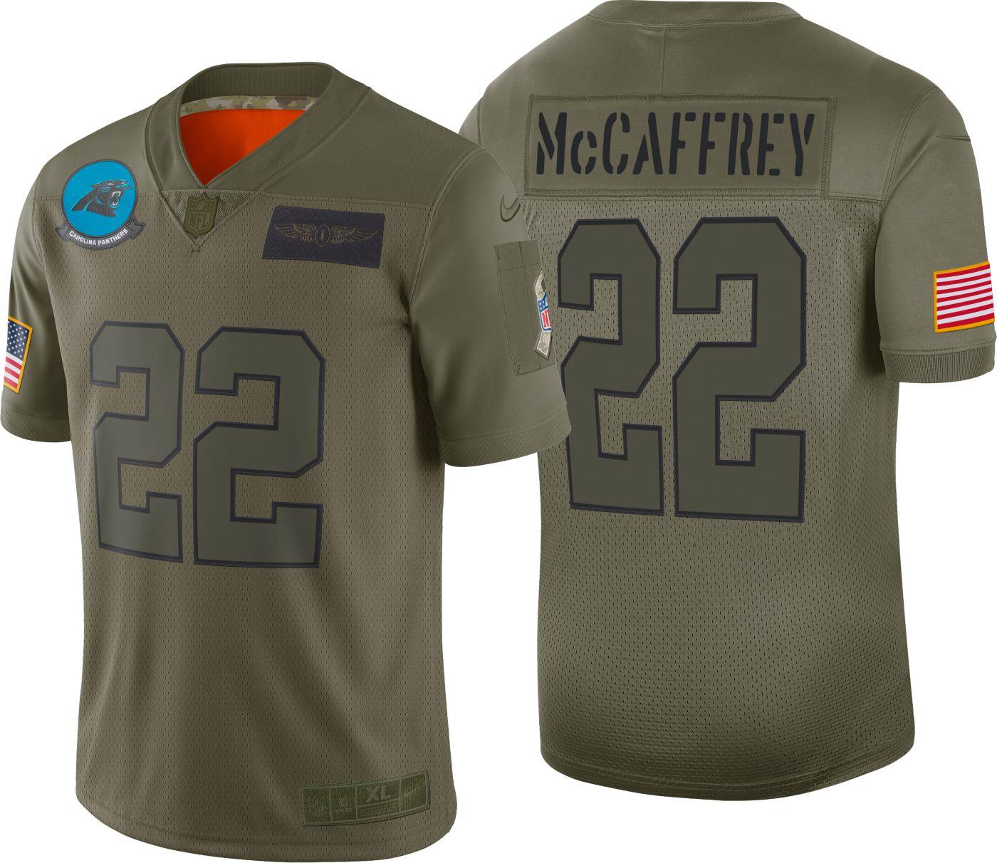 Nike Men's Salute to Service Carolina Panthers Christian McCaffrey #22 Olive Limited Jersey