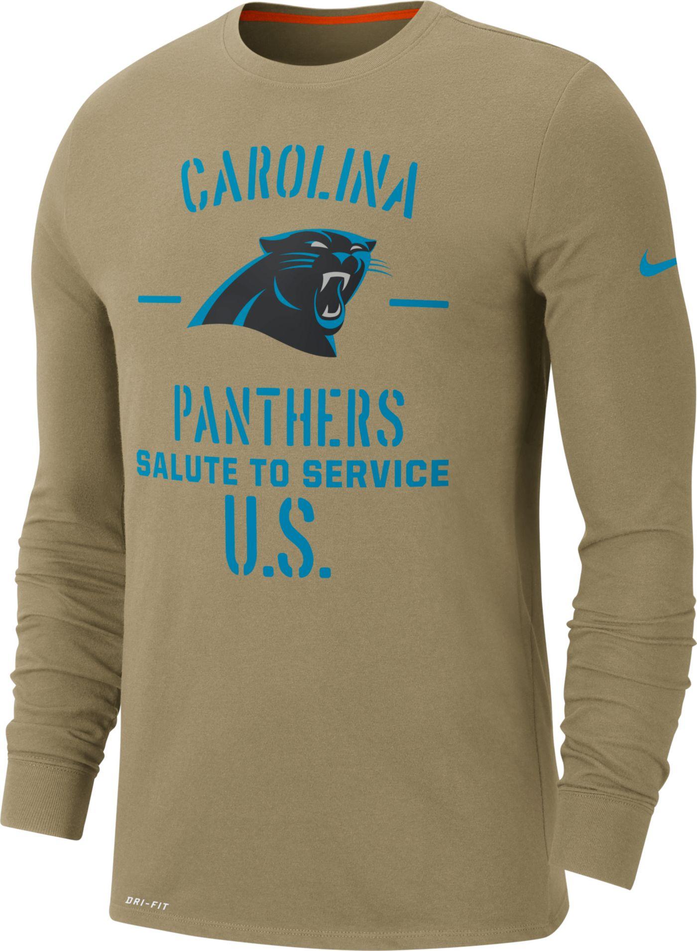 Nike Men's Salute to Service Carolina Panthers Dri-FIT Beige Long Sleeve Shirt