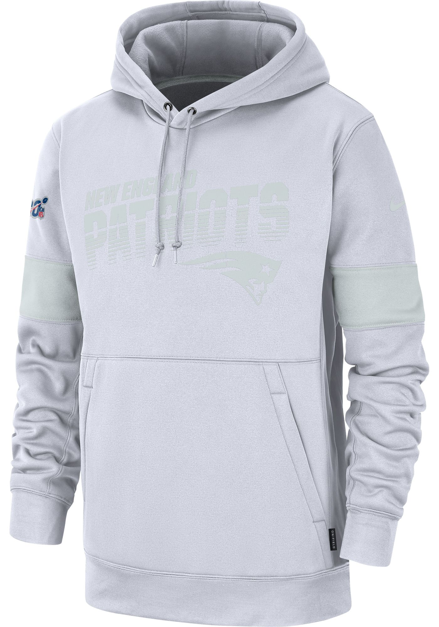 Nike Men's New England Patriots 100th Sideline Therma-FIT Pullover White Hoodie