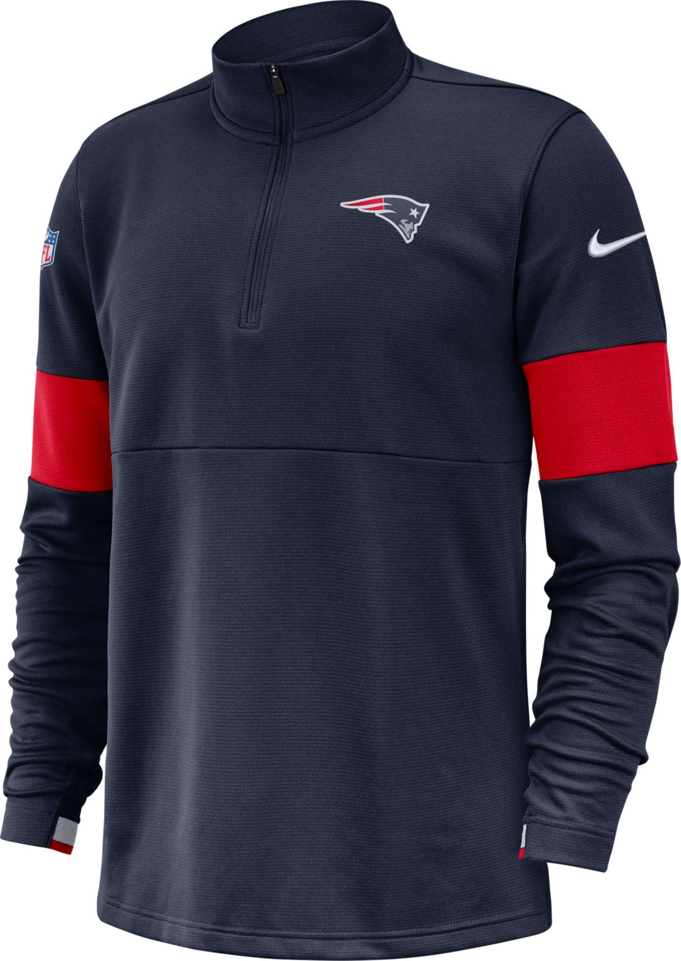 Nike Men's New England Patriots Sideline Coach Performance Navy Half-Zip Pullover