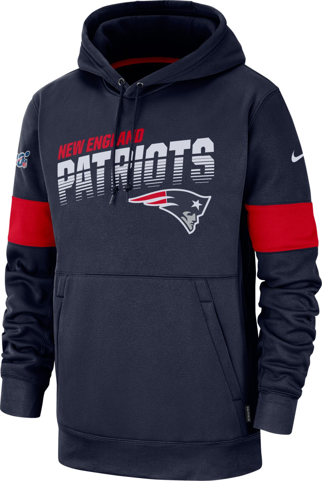 best loved 1f587 e5e7a Nike Men's New England Patriots 100th Sideline Therma-FIT Navy Pullover  Hoodie