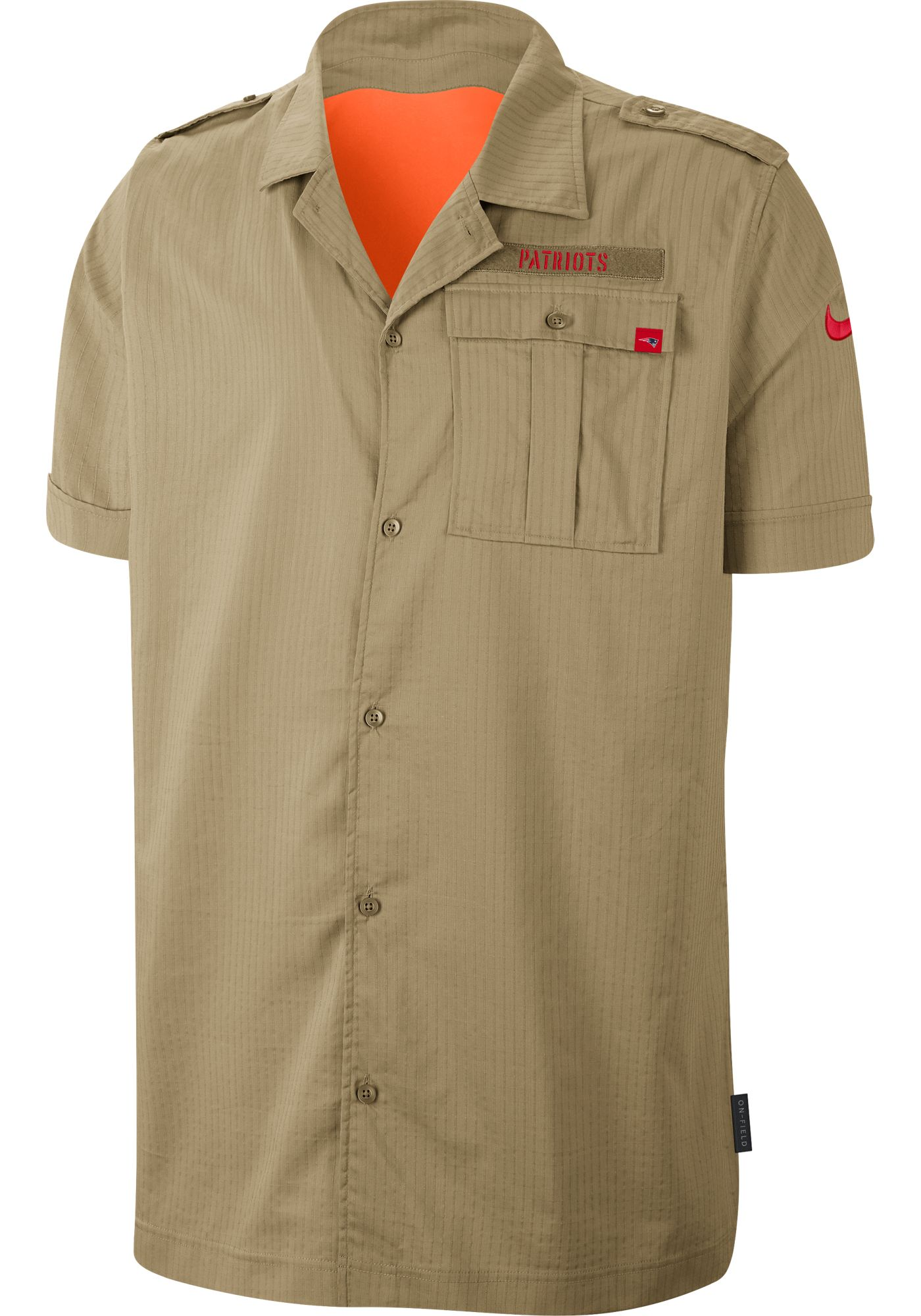 Nike Men's Salute to Service New England Patriots Beige Button Down Shirt