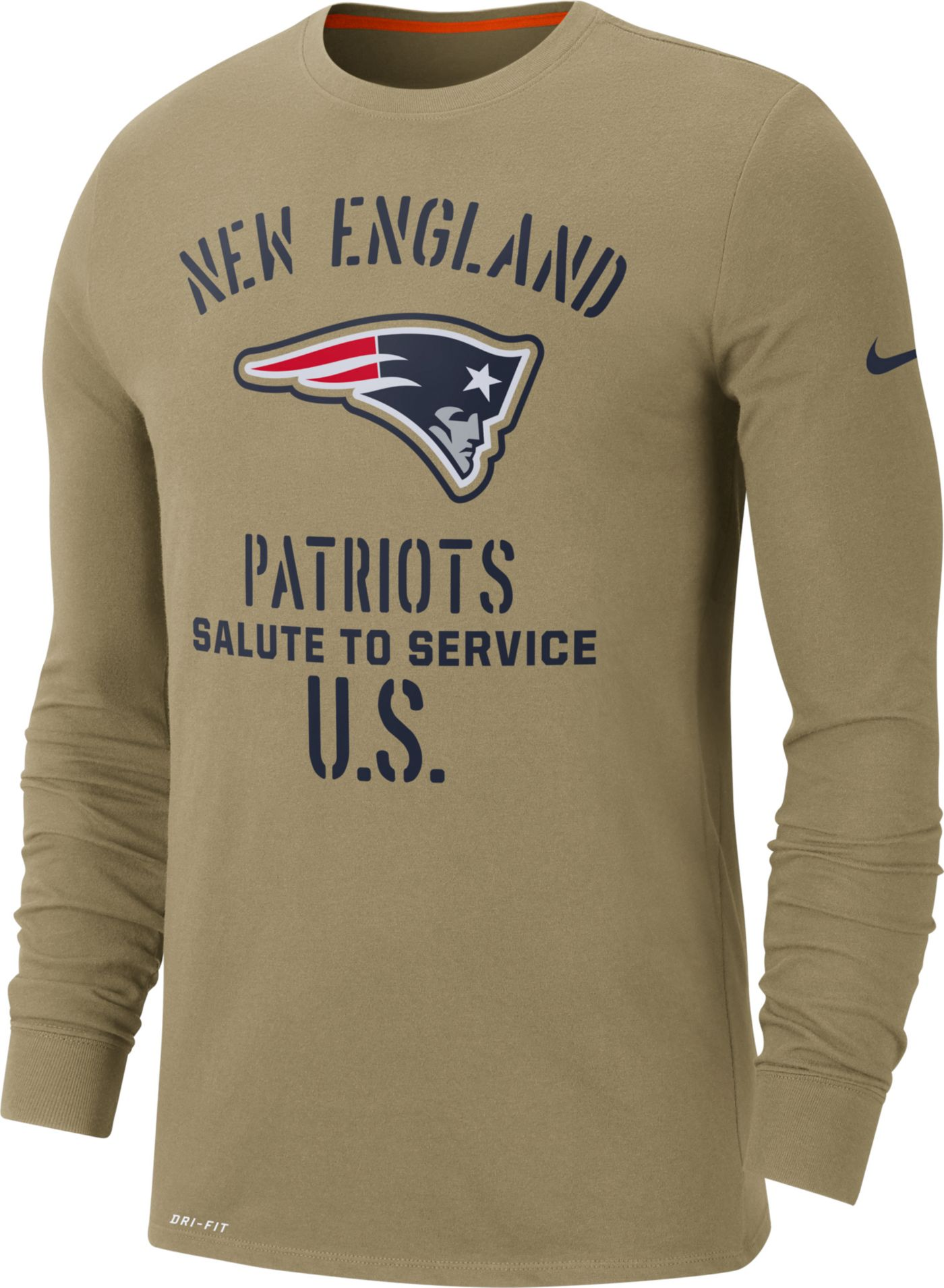 Nike Men's Salute to Service New England Patriots Dri-FIT Beige Long Sleeve Shirt
