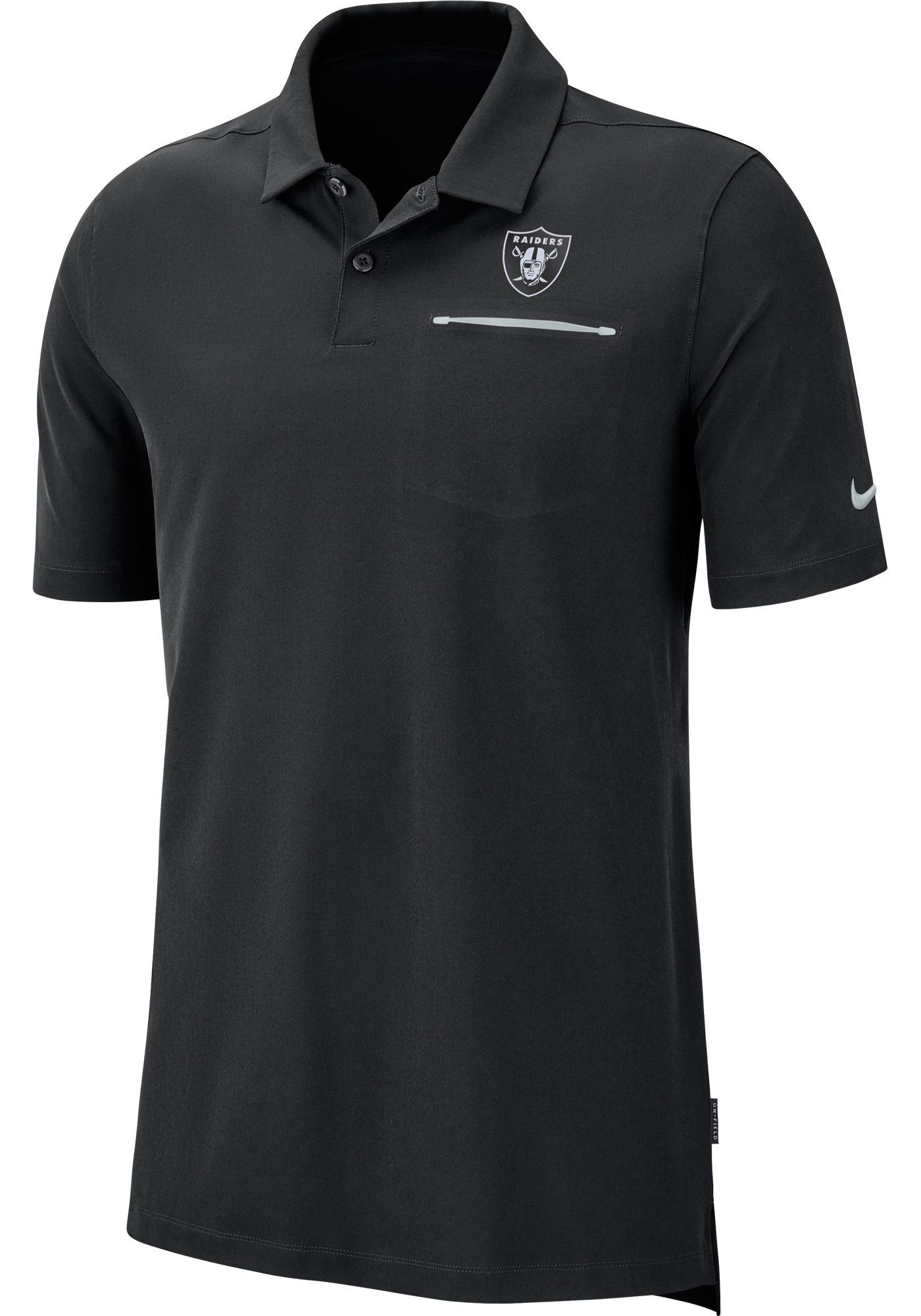 Nike Men's Oakland Raiders Sideline Elite Performance Black Polo