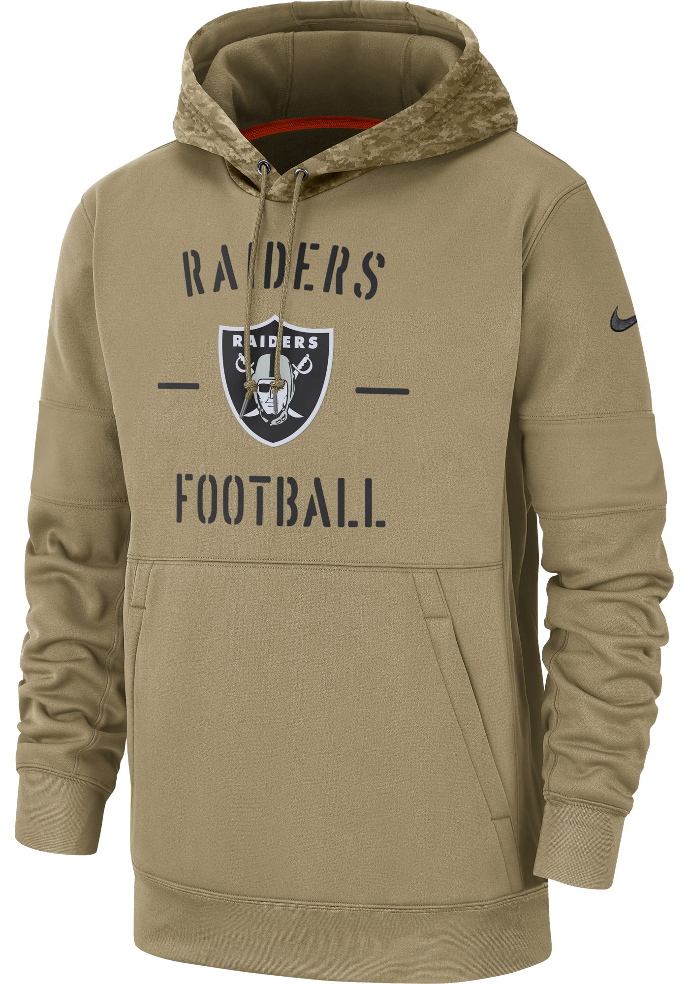 Nike Men's Salute to Service Oakland Raiders Therma-FIT Beige Camo Hoodie