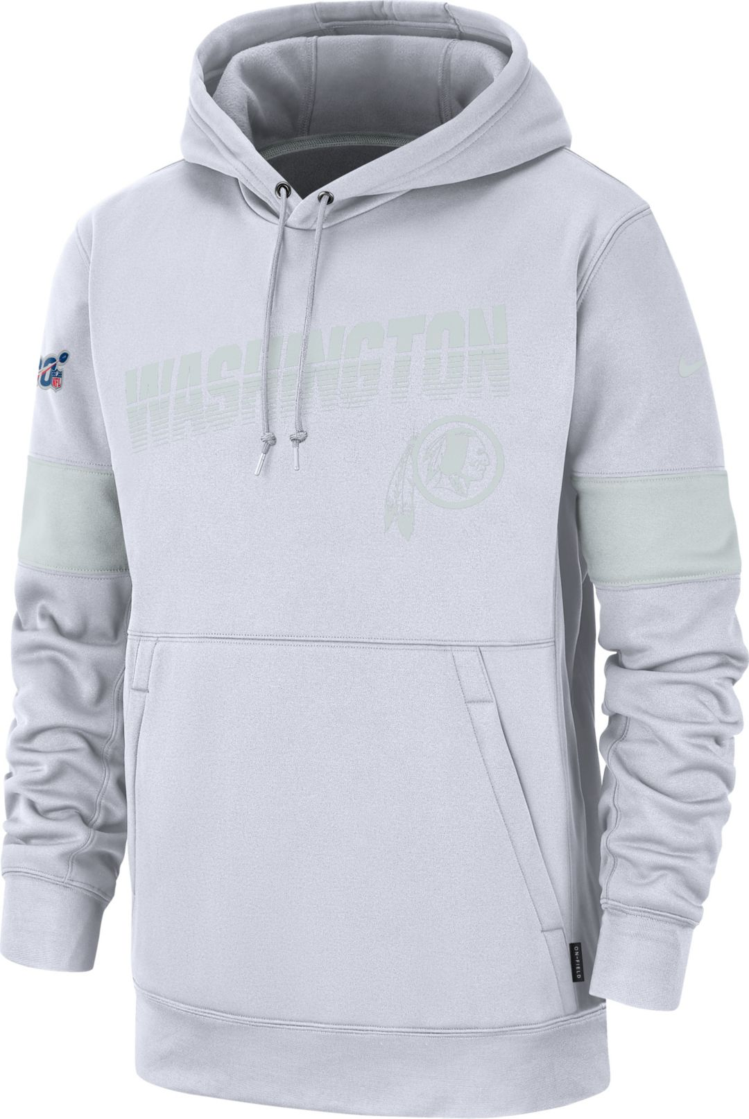 pretty nice 233a2 30eaf Nike Men's Washington Redskins 100th Sideline Therma-FIT Pullover White  Hoodie