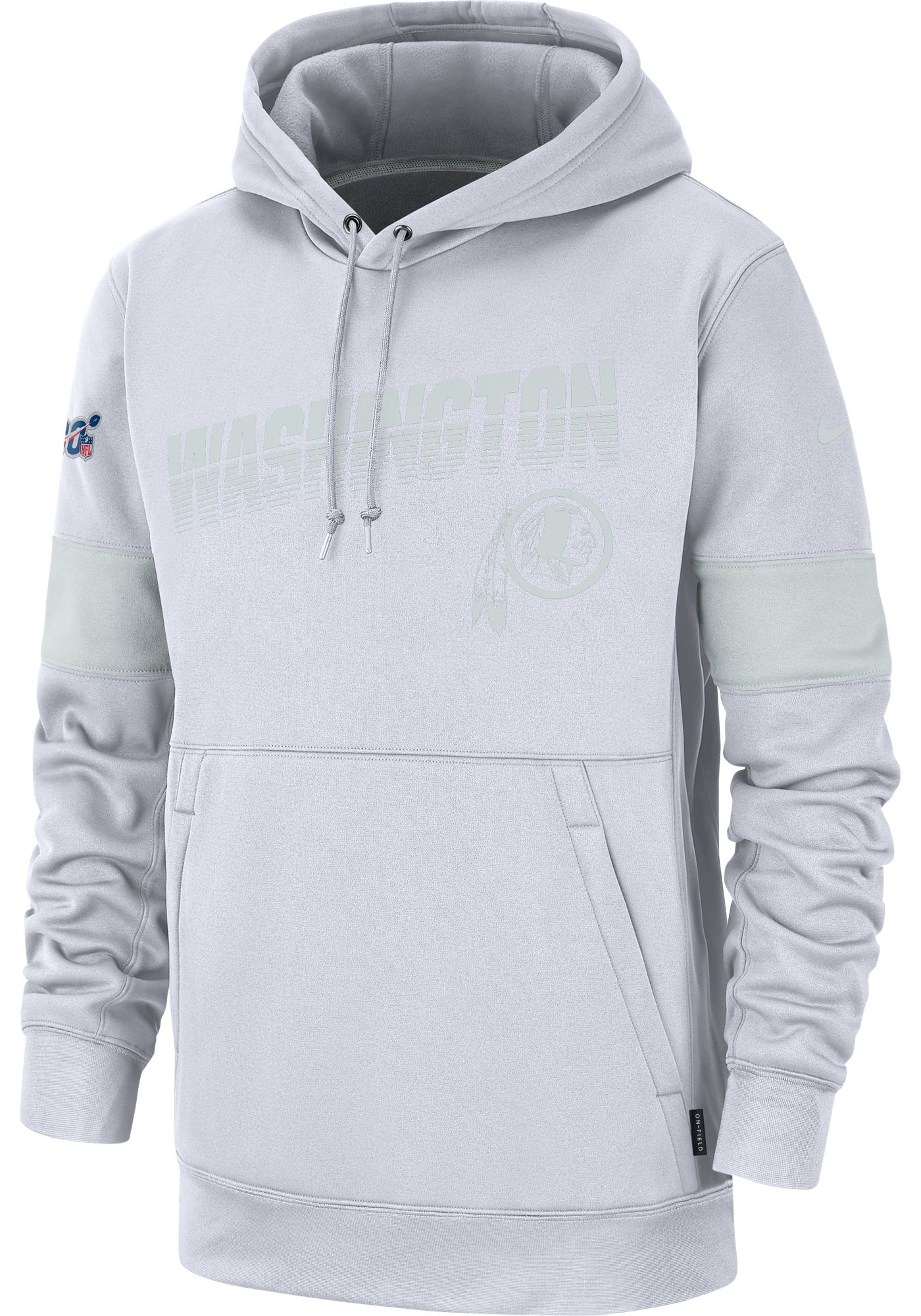 Nike Men's Washington Redskins 100th Sideline Therma-FIT Pullover White Hoodie