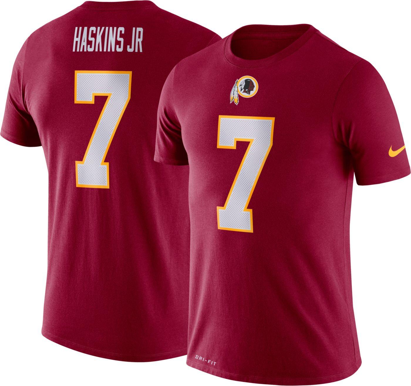 Nike Men's Washington Redskins Dwayne Haskins #7 Logo Red T-Shirt
