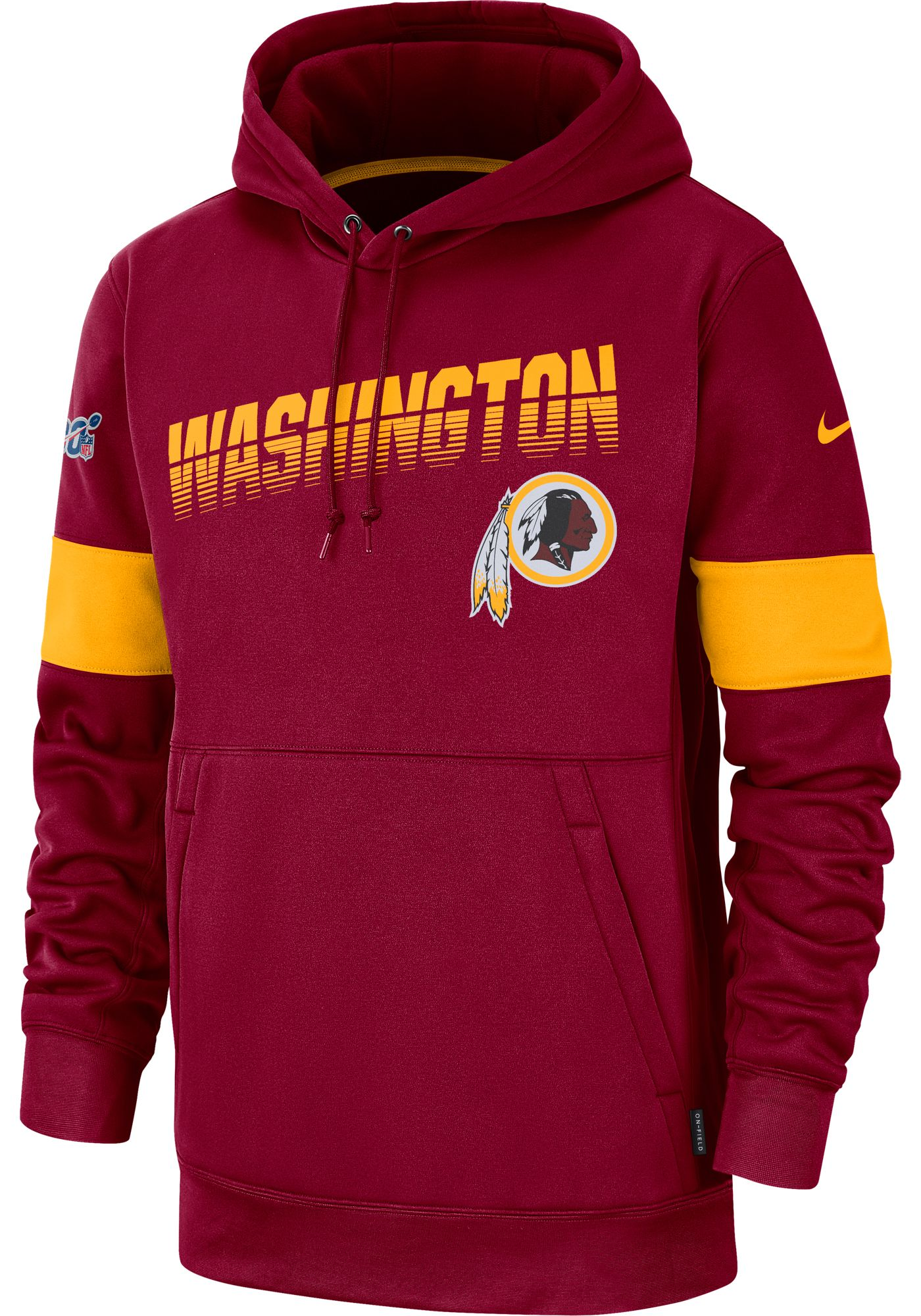 Nike Men's Washington Redskins 100th Sideline Therma-FIT Red Pullover Hoodie